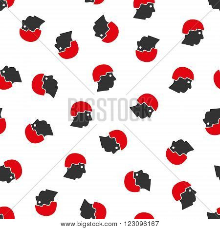 Soldier Helmet vector seamless repeatable pattern. Style is flat red and dark gray soldier helmet symbols on a white background.