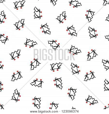 Workers Help on Upstairs vector seamless repeatable pattern. Style is flat red and dark gray workers help on upstairs symbols on a white background.