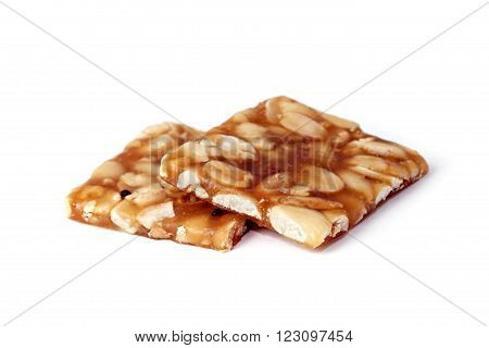 Indian sweet brittle bars isolated over white