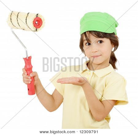 Little girl with paint roller