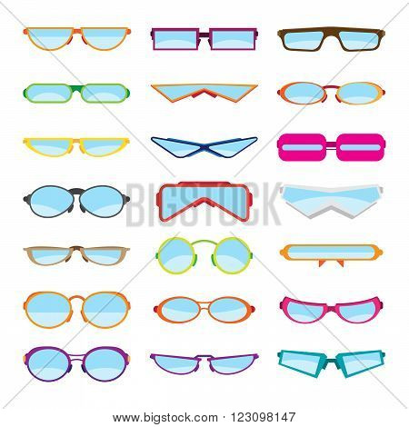 Vector illustrations of various flat-style eyeglasses or glasses or spectacles.