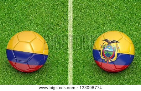 Qualifier preliminary football match between country teams Colombia and Ecuador