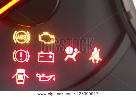Close up set of car dash boards engine meter, warning symbol, on black background