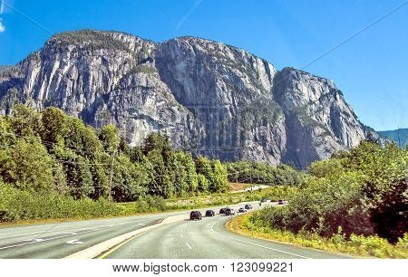 Sea to Sky Highway passes through the Stawamus Chief Provincial Park
