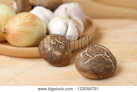 Shiitake Mushroom On Wooden Table