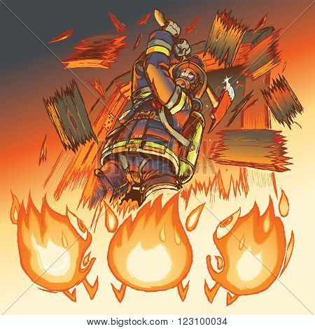 Vector Illustration of a very intimidating firefighter crashing through a door and brandishing a fire axe much to the dismay of three hapless anthropomorphic cartoon flames. All important objects are on separate layers for easy editing.