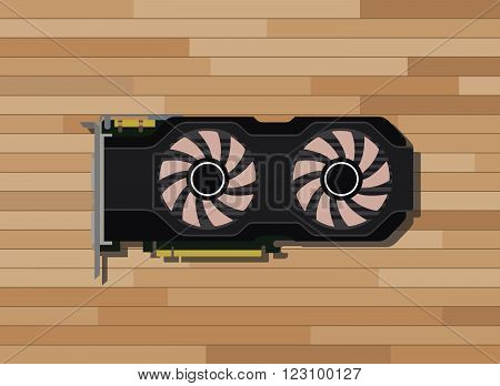 video graphic card isolated with wood background vector