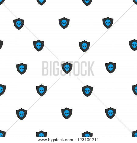 Aliens Protection Shield vector seamless repeatable pattern. Style is flat blue and dark gray aliens protection shield symbols on a white background.