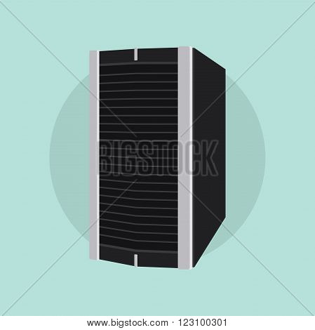 server isolated flat vector with green background illustration