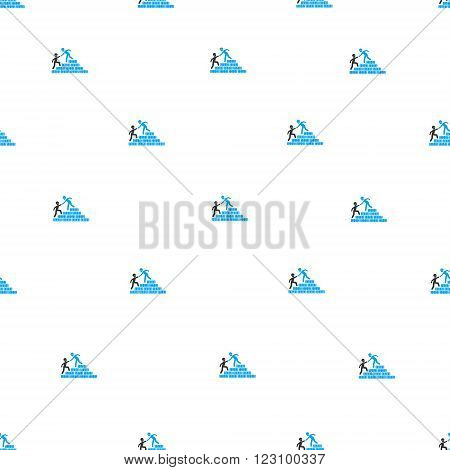 Builder Stairs Help vector seamless repeatable pattern. Style is flat blue and dark gray builder stairs help symbols on a white background.