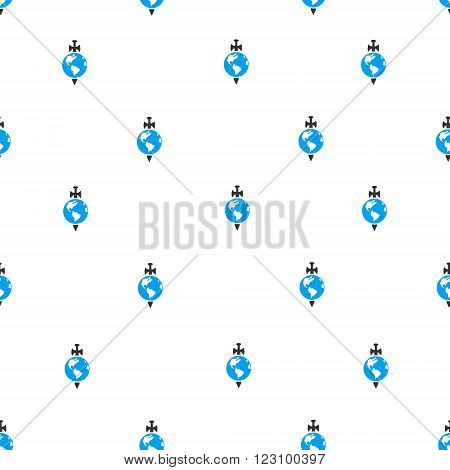 Earth Guard vector seamless repeatable pattern. Style is flat blue and dark gray Earth guard symbols on a white background.