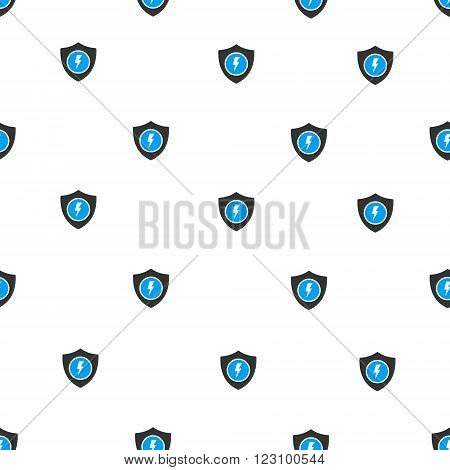 Electric Guard vector seamless repeatable pattern. Style is flat blue and dark gray electric guard symbols on a white background.