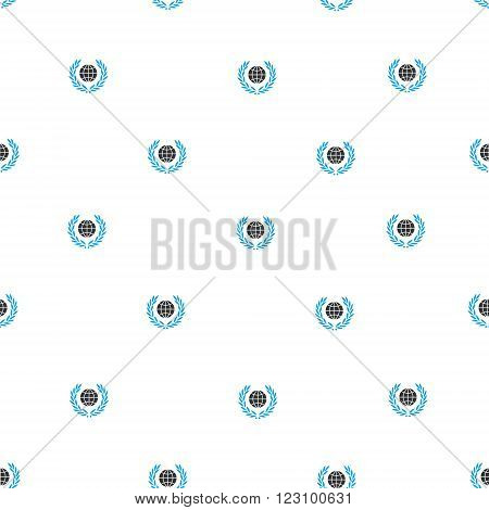 Global Emblem vector seamless repeatable pattern. Style is flat blue and dark gray global emblem symbols on a white background.