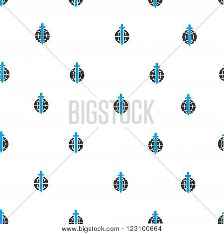 Global Guard Sword vector seamless repeatable pattern. Style is flat blue and dark gray global guard sword symbols on a white background.