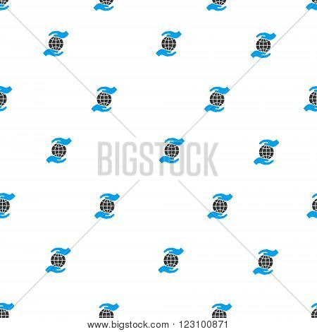 Global Insurance Hands vector seamless repeatable pattern. Style is flat blue and dark gray global insurance hands symbols on a white background.
