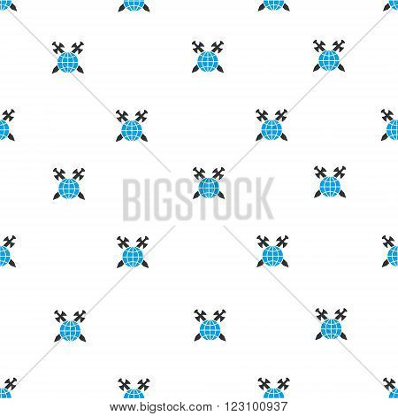 Global Protection Swords vector seamless repeatable pattern. Style is flat blue and dark gray global protection swords symbols on a white background.