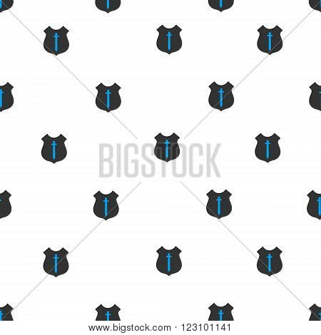 Guard Shield vector seamless repeatable pattern. Style is flat blue and dark gray guard shield symbols on a white background.