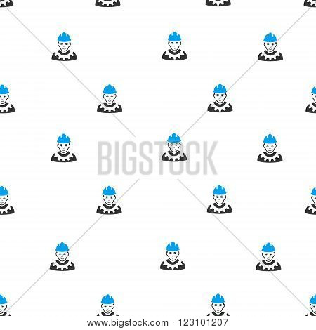 Industrial Builder vector seamless repeatable pattern. Style is flat blue and dark gray industrial builder symbols on a white background.