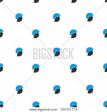 Soldier Helmet vector seamless repeatable pattern. Style is flat blue and dark gray soldier helmet symbols on a white background.