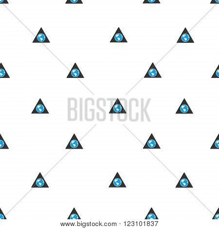 Terra Triangle vector seamless repeatable pattern. Style is flat blue and dark gray terra triangle symbols on a white background.