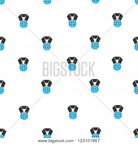 World Award vector seamless repeatable pattern. Style is flat blue and dark gray World award symbols on a white background.