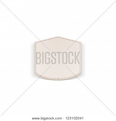 Realistic paper white Emblem with Seams. Vector Illustration