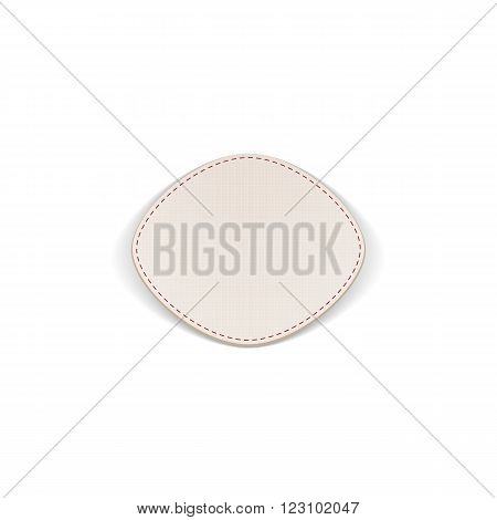 Realistic paper white Label with Seams. Vector Illustration