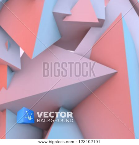 Abstract background with overlapping rose quartz and serenity pyramids