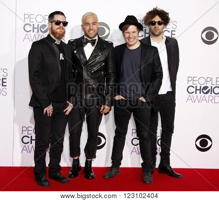 Fall Out Boy at the 41st Annual People's Choice Awards held at the Nokia L.A. Live Theatre in Los Angeles on January 7, 2015.