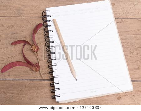 Diary Note With Dipterocapus Alatus Roxb. Ex G.don On Wood Texture (organizer ,agenda, Book, Diary)