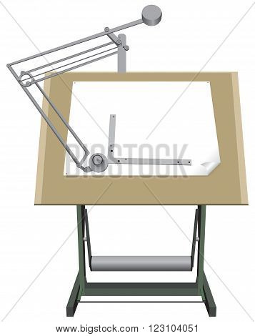 Drawing board for drawing with paper for design.