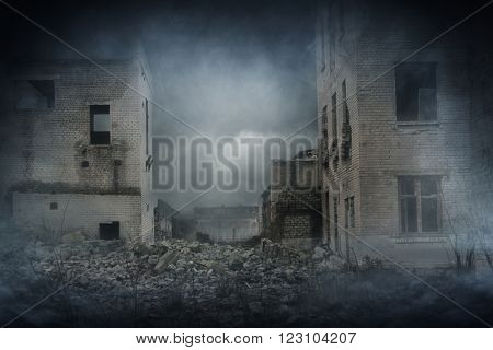 Apocalyptic ruins of the city. Disaster effect.