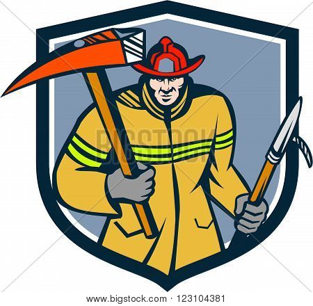 Illustration of a fireman fire fighter emergency worker holding a fire axe and hook viewed from front set inside shield crest on isolated background done in retro style.