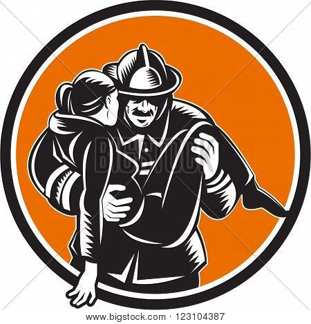 Illustration of a fireman fire fighter emergency worker carrying saving girl running viewed from front set inside circle done in retro woodcut style.
