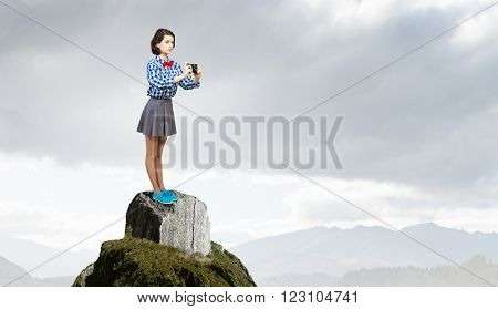 Hipster girl with photocamera