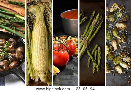 Food collage with various cooked and raw ingredients.