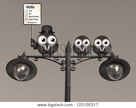 Sepia comical market research voting intension sign with birds perched on a lamppost