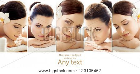 Portraits of different women getting massaging treatment. Spa, healing and alternative therapy concept.