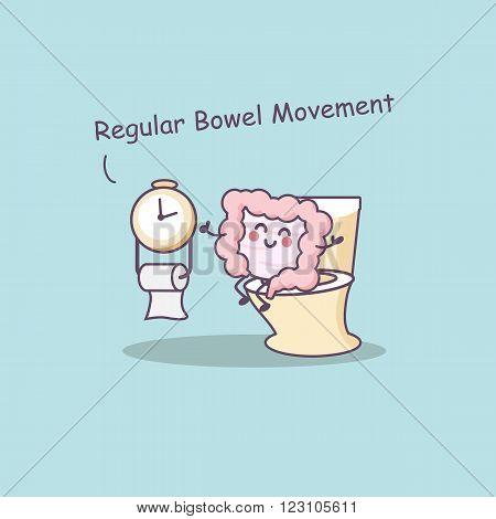 Cute cartoon intestine need regular bowel movement- great for health care concept