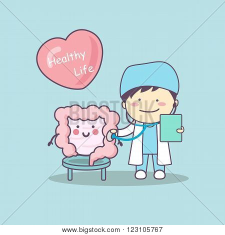 cute cartoon doctor check intestine great for health life concept
