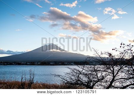Beautiful view of Mount Fuji at Lake Kawaguchi in autumn This mountain is a famous natural landmark of Japan ** Note: Shallow depth of field