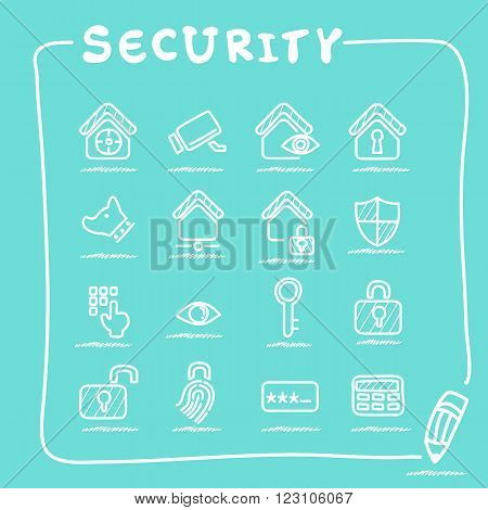 Home security concept icon set - doodle Series