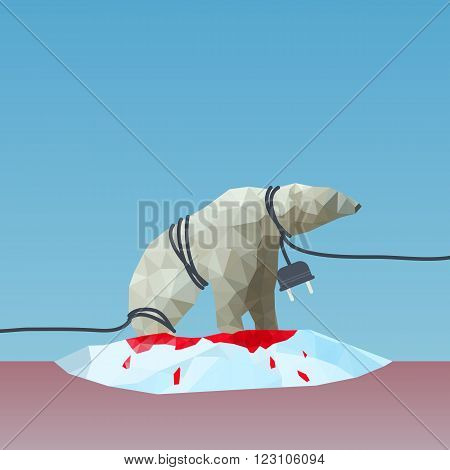 low poly Polar bear reined by the plug on the iceberg great for environment concept