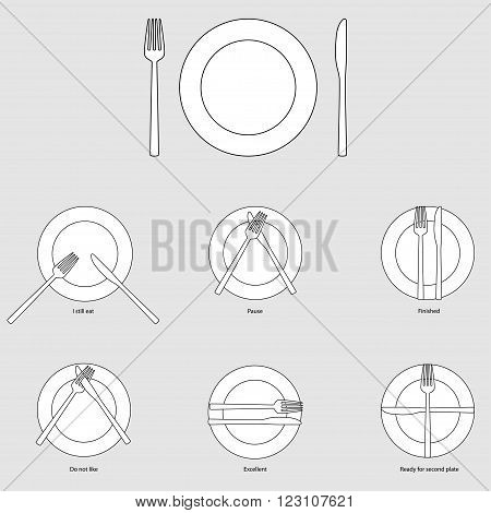 Table etiquette (set of plates with fork and knife), vector illustration