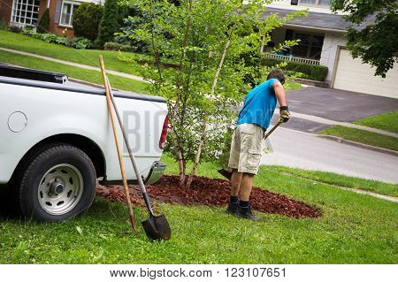 a man works in his yard on the weekend to a new garden to his landscaping
