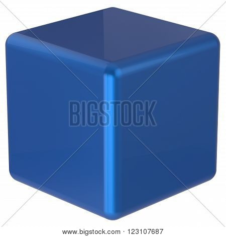 Box cube blue geometric shape dice block basic solid square brick figure simple minimalistic glossy element single shiny blank object. 3d render isolated