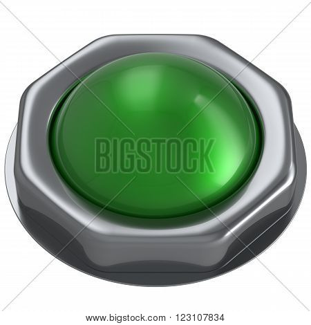 Button green start turn on off action push down activate ignition positive power switch design element metallic shiny blank. 3d render isolated