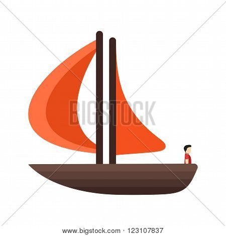 Boat, yacht, fishing icon vector image. Can also be used for sea. Suitable for use on web apps, mobile apps and print media.