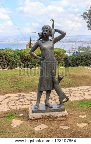 Haifa, Israel, January, 2016. Statue