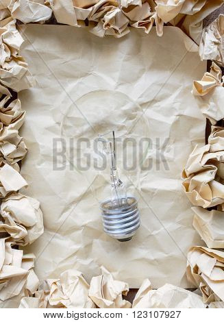 Crumpled paper balls with crumpled paper, creative writing concept